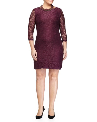 3/4-Sleeve Lace Sheath Dress & Lynette Beaded Collar Necklace, Women's