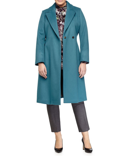 Tiara Wool Long Coat, Bengala Printed Tie-Neck Blouse & Redine Stretch Wool Ankle Pants, Women's