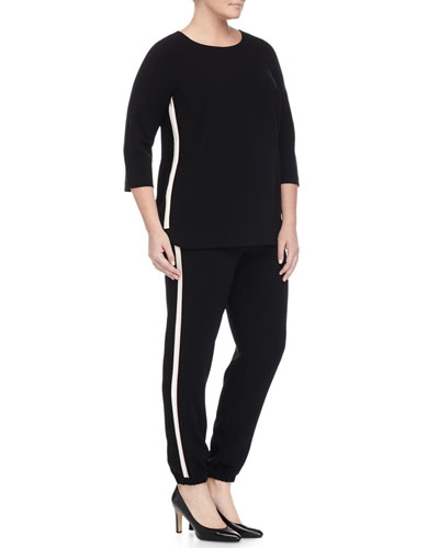 Fascia 3/4-Sleeve Comfort Top W/ Piping & Rapporto Side-Stripe Slim Pants, Women