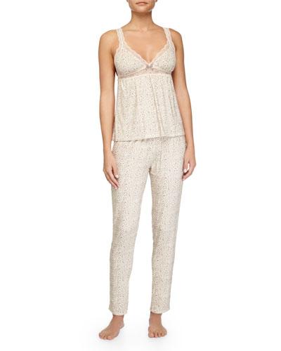 Floral Garland Lace-Trim PJ Camisole & Cropped Pants