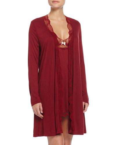 Estelle Lace-Trimmed Robe & Chemise, Merlot