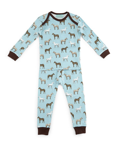Year of the Horse Pajama Shirt & Pants, Light Blue