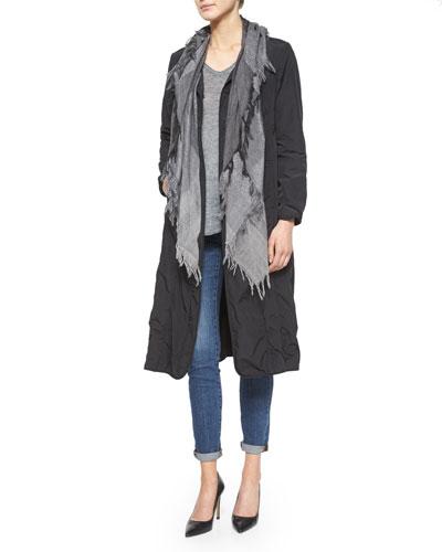 Bonded Snap-Front Long Coat, V-Neck Mottled Linen Top, Wool Check Sparkle Scarf & Organic Soft Stretch Skinny Jeans