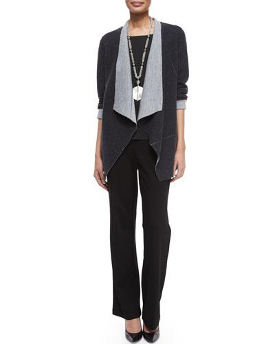 Merino Double-Knit Jacket, Long-Sleeve Jersey Cozy Tee & Straight-Leg Ponte Pants