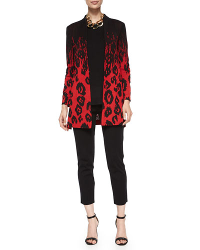 Animal-Print Long Jacket, Sleeveless Long Tank & Slim Ankle Pants, Women