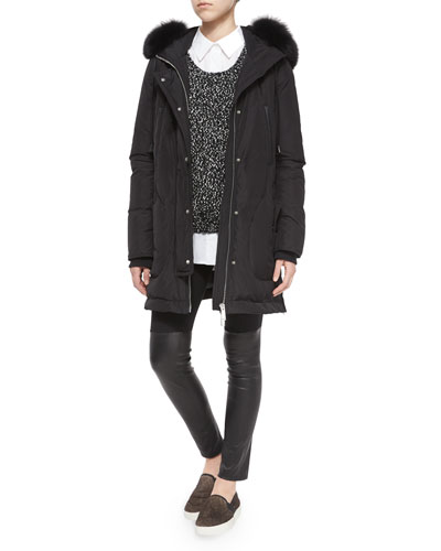 Fox Fur-Trimmed Hooded Parka, Long-Sleeve Boucle Sweater & Long-Sleeve Stretch-Cotton Blouse