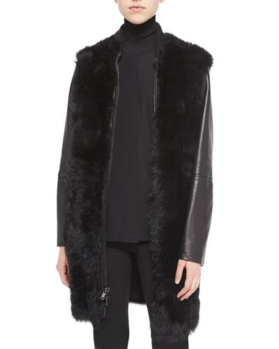 Leather-Sleeve Shearling Fur Coat & Laser-Cut Sleeveless Turtleneck Top