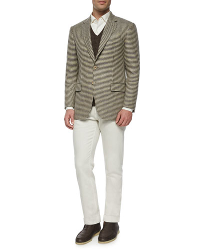 Madrid Check Cashmere Sport Coat, Baby Cashmere Cable-Knit Vest & Four-Pocket Cotton-Stretch Jeans