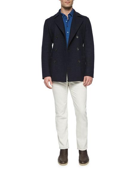 Loro Piana Huck Lace Long-Sleeve Polo Shirt, Blue