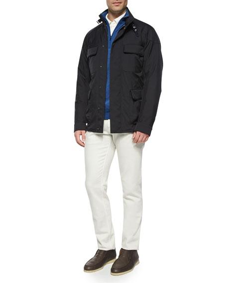 Loro Piana Roadster Half-Zip Cashmere Sweater, Light Blue