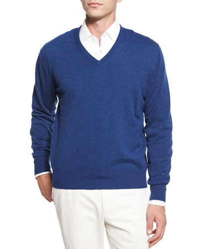 Baby Cashmere V-Neck Sweater & Andre Long-Sleeve Polo Shirt