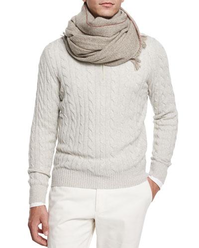 Mezzocollo Cable-Knit Cashmere Pullover & Dartmoor Baby Cashmere Scarf