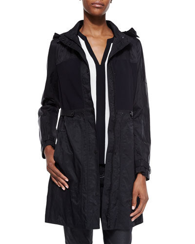 Bianca Hooded Coat & Karrie Sleeveless Silk Colorblock Blouse