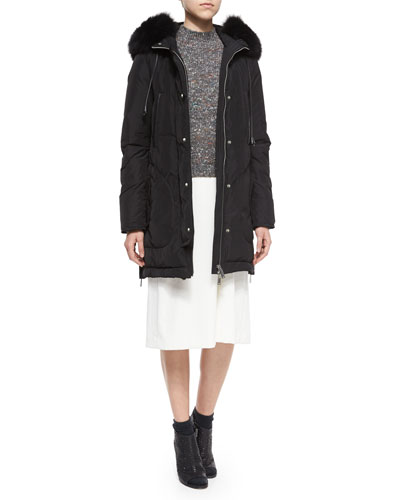 Fox Fur-Trimmed Hooded Parka, Jodi B. Paella Half-Sleeve Sweater & V-Neck A-Line Crepe Dress