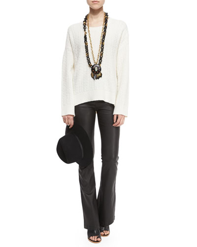 Long-Sleeve Oversized Spring Top & Vivia Flared Leather Pants
