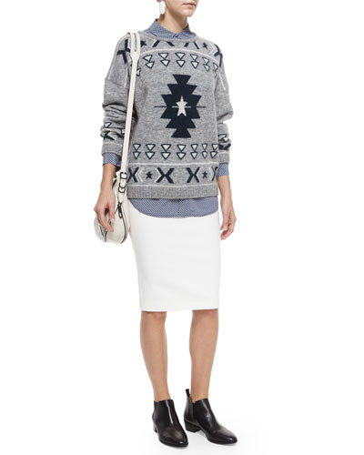 Fluffy Tribal-Print Sweater, Signature Slim Printed Silk Blouse & Otto Mesh-Trim Ponte Skirt