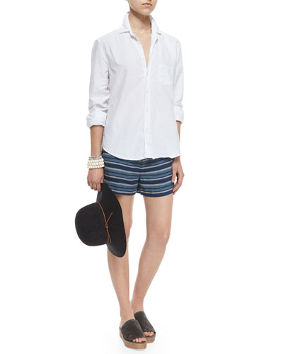 Eileen Long-Sleeve Button-Front Blouse & Merci Low-Rise Striped Shorts