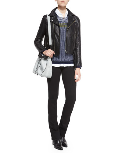 Galaxy Lambskin Leather Jacket, Mixed-Stitch Long-Sleeve Knit Sweater, Eileen Long-Sleeve Button-Front Blouse & 811 Mid-Rise Boot-Cut Jeans