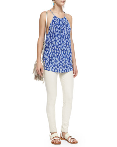 Tabo Printed Tank Top & High-Waist Skinny-Fit Ankle Jeans