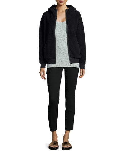 Mock-Neck Sherpa Zip Hoodie, Donegal Speckled Cashmere Knit Camisole & Slim Stretch Cargo Pants