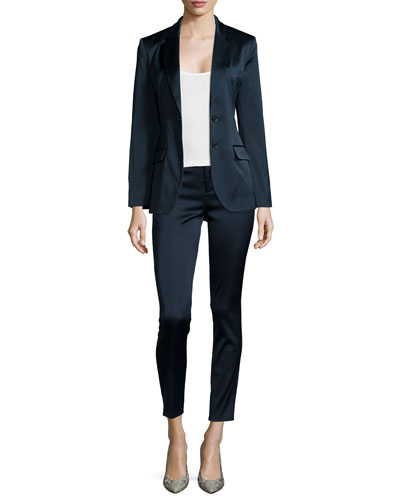 Stretch-Satin Suiting Blazer & Slim Straight-Leg Cropped Pants