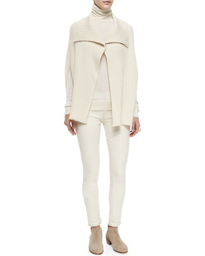 Ribbed Sweater Cape & Faux-Leather Seamed Skinny Pants