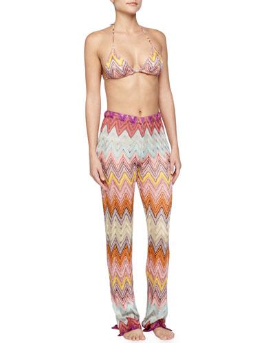 Pointelle Zigzag String Bikini & Zigzag Knit Pull-On Pants