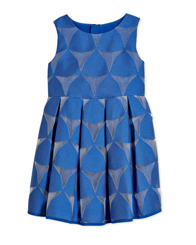 Prism Fil Coupe Pleated Dress, Cobalt