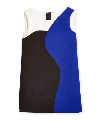 Colorblock Sleeveless Shift Dress, Cobalt