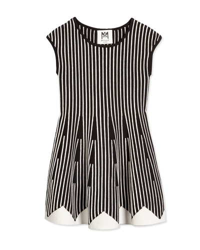 Vertical-Stripe Fit-and-Flare Dress, Black/White