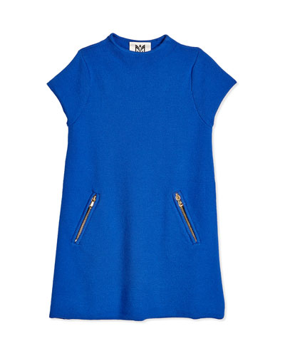Short-Sleeve Funnel-Neck Tunic Dress, Cobalt
