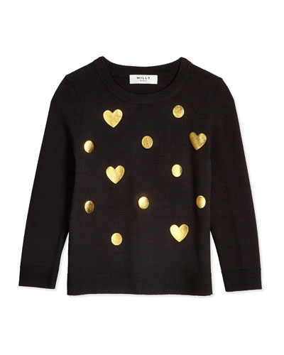 Foil-Print Crewneck Sweater, Black