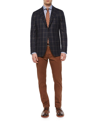 Double Windowpane Two-Button Sport Coat, Micro-Houndstooth Dress Shirt & Twill Five-Pocket Pants