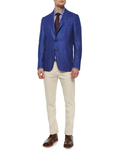 Check Two-Button Blazer, Grand Bold-Stripe Dress Shirt, Circle-on-Circle Silk Tie & Twill Five-Pocket Pants
