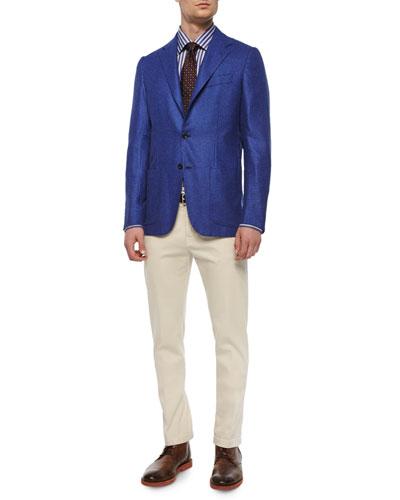 Check Two-Button Blazer, Grand Bold-Stripe Dress Shirt, Circle-on-Circle Silk Tie & Twill Five-Pocket Pants
