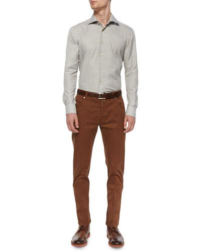 Check Long-Sleeve Woven Shirt & Twill Five-Pocket Pants