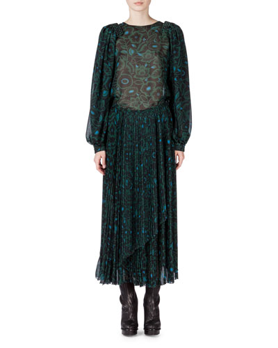 Oversized Jacket w/Contrasting Fur Trim, Shadow Flower Sheer Long-Sleeve Blouse & Pleated Skirt