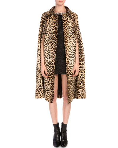 Leopard-Print Goat Fur Coat & Crystal Bow Lace Sheath Dress
