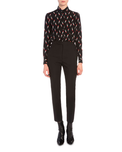 Lipstick-Print Button Blouse & Slim-Fit Flat-Front Pants