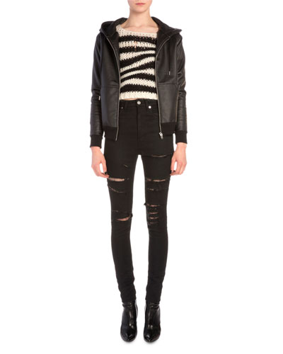 Waxed Jersey Zip Hoodie, Wavy Striped Chain Knit Sweater & Fishnet-Inset Distressed High-Waist Jeans