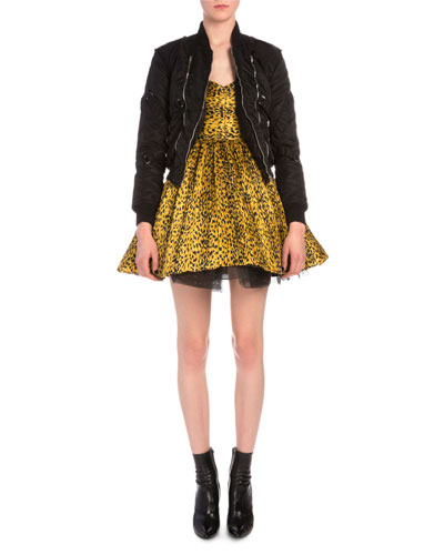 Strap-Detailed Tech Bomber Jacket & Leopard-Print Plisse Fit-And-Flare Dress