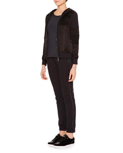 Hooded Satin-Inset Zip Sweatshirt, Techno Jersey Sporty Tank Top & Mesh-Inset Slim-Fit Track Pants