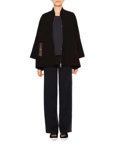 Water-Repellant Short Cape, Techno Jersey Sporty Tank Top & Satin-Trimmed Wide-Leg Track Pants