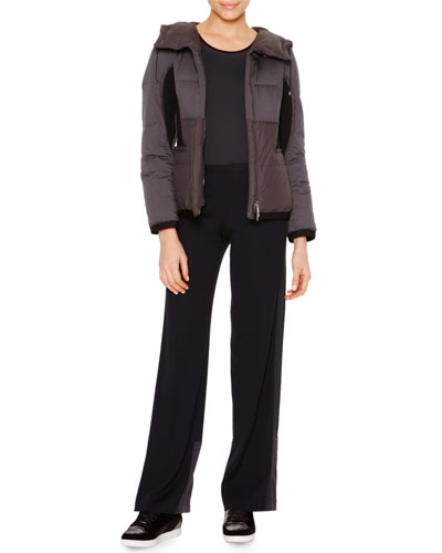 Short Down-Filled Anorak Jacket, Techno Jersey Sporty Tank Top & Satin-Trimmed Wide-Leg Track Pants
