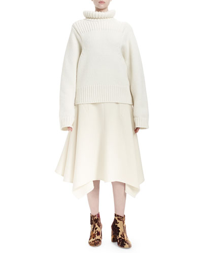 Long-Sleeve Turtleneck Sweater & Double-Faced Handkerchief-Hem Skirt