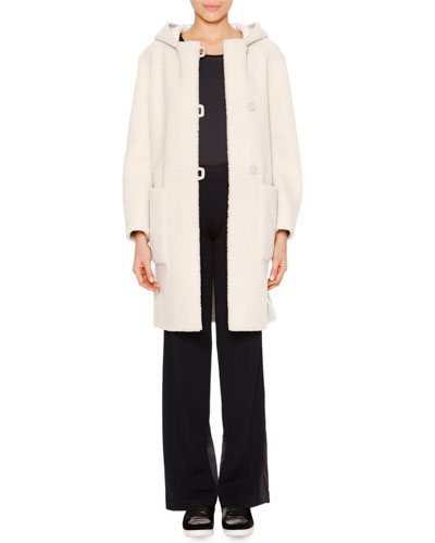 Reversed Mid-Length Shearling Fur Coat, Techno Jersey Sporty Tank Top & Satin-Trimmed Wide-Leg Track Pants