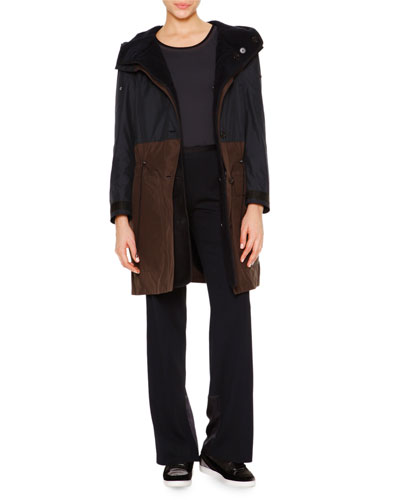 Two-In-One Reversible Shearling Fur Parka, Techno Jersey Sporty Tank Top & Satin-Trimmed Wide-Leg Track Pants
