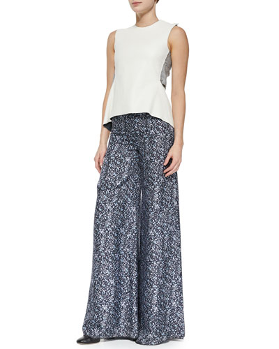 Sleeveless Top W/ Jersey Back & Printed Wide-Leg Trousers W/ Side Slit