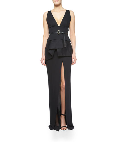 Sleeveless Plunge-Neck Peplum Top, Skinny Leather C-Buckle Belt & Evening Skirt w/Organza Panel