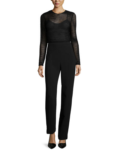 Sheer Knit Striped Top & Seamed High-Waist Pants